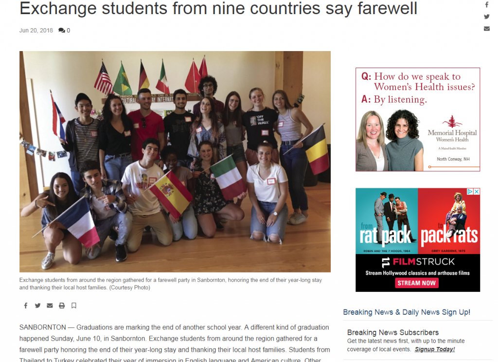Exchange Students From Nine Countries