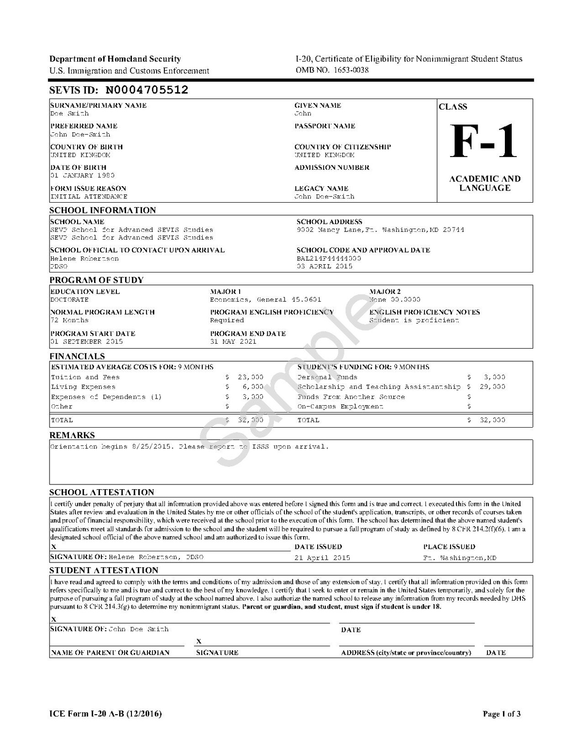 I-20 Form Sample